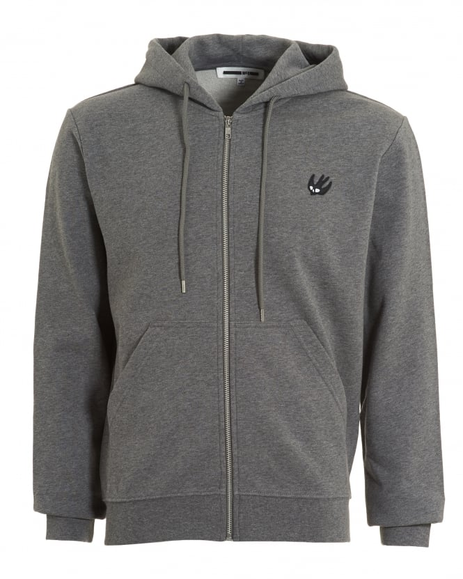McQ by Alexander McQueen Mens Zip Through Sweat, Chest Logo Grey Melange Hoodie