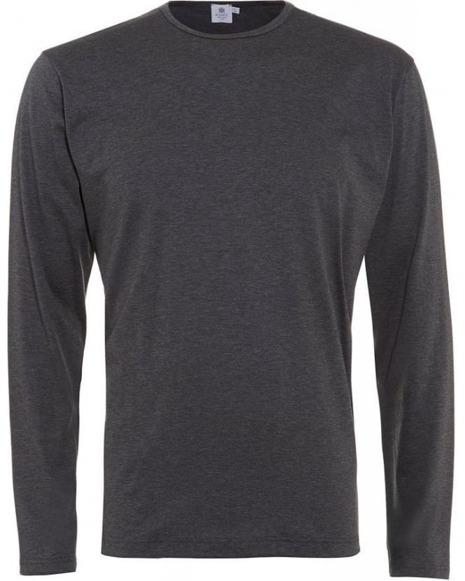 Sunspel Melange Charcoal Grey Long Sleeve Classic Fit T-Shirt
