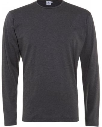 Melange Charcoal Grey Long Sleeve Classic Fit T-Shirt
