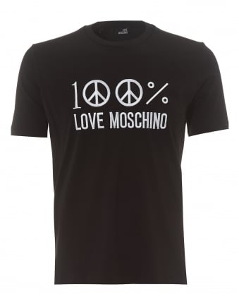 Mens 100% Love Moschino T-Shirt, Regular Fit Black Tee