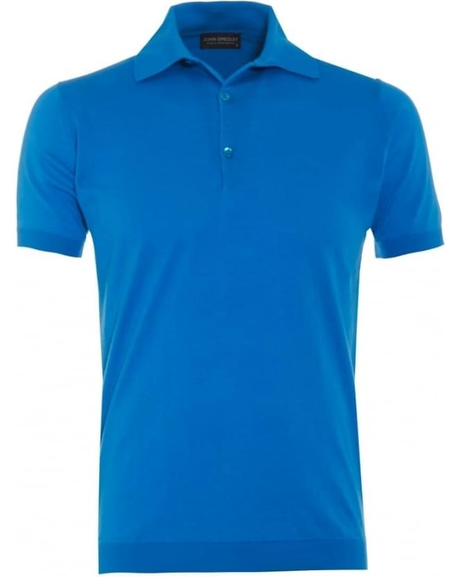 John Smedley Mens Adrian Polo Shirt Alpine Blue Sea Island Cotton