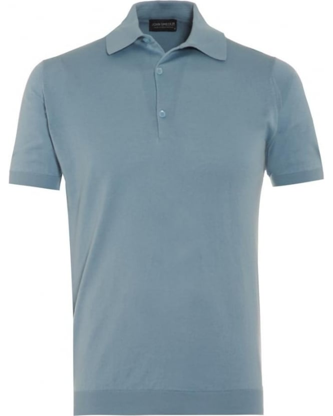 John Smedley Mens Adrian Polo Shirt Blue Glass Sea Island Cotton