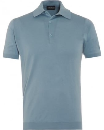 Mens Adrian Polo Shirt Blue Glass Sea Island Cotton