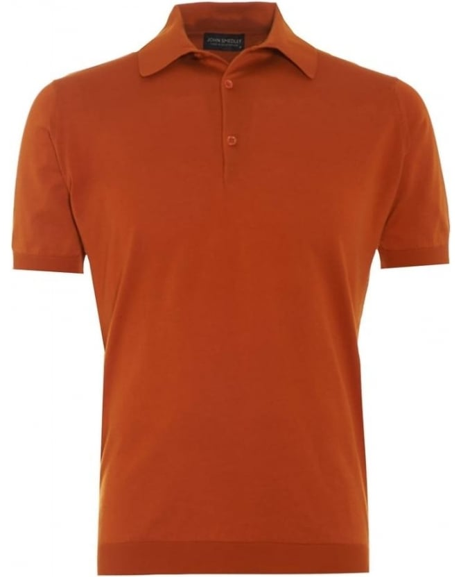 John Smedley Mens Adrian Polo Shirt Orange Mead Sea Island Cotton
