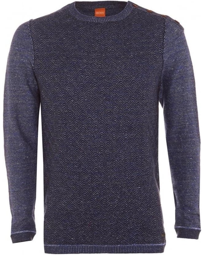 Hugo Boss Orange Mens Akert Jumper, Navy Blue Knitted Four Button Sweater