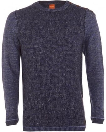Mens Akert Jumper, Navy Blue Knitted Four Button Sweater