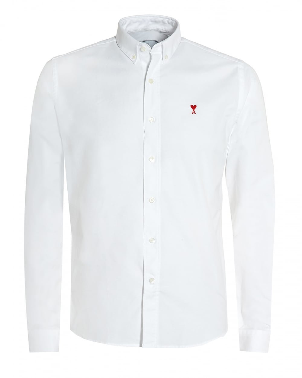Ami Mens Ami de Coeur Button Down White Shirt