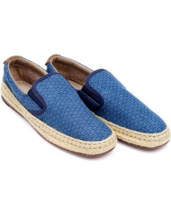 Mens Antu Espadrille Navy Blue Geometric Print Shoes