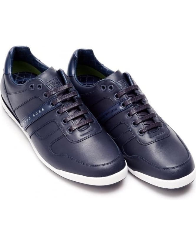Hugo Boss Green Mens Arkansas_Lowp_It Trainers, Navy Blue Sneakers