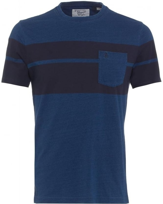 Original Penguin Mens Bash T-Shirt, Navy Blue Denim Panel Pocket Tee