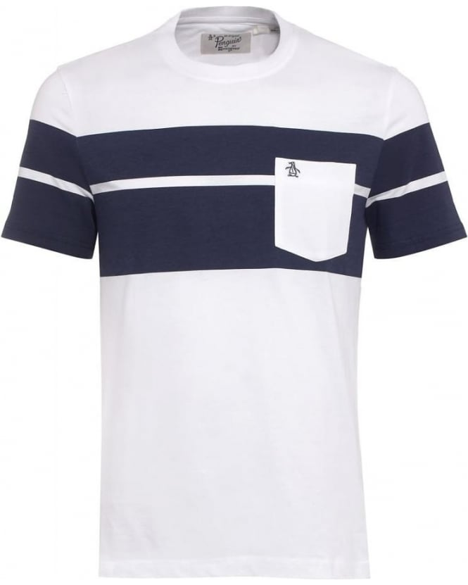 Original Penguin Mens Bass T-Shirt, White Panel Pocket Tee