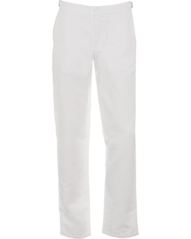 Orlebar Brown Mens Bedlington Trousers, White Linen Blend Tailored Trouser