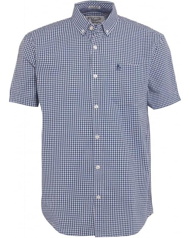 Original Penguin Mens Belan Shirt, Short Sleeve Blue Gingham Check