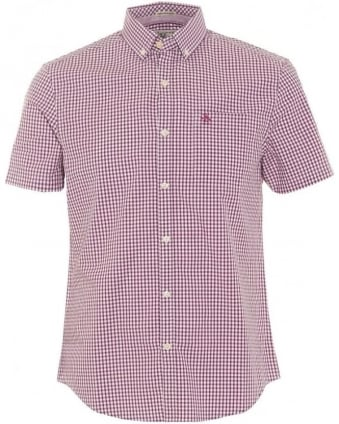 Mens Belan Shirt, Short Sleeve Grape Purple Gingham Check