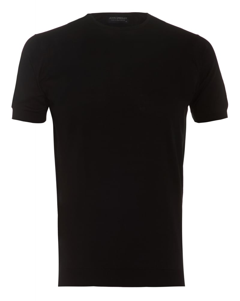 John Smedley Mens Belden T-Shirt, Crew Neck Plain Black Tee