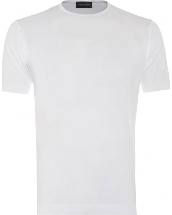 John Smedley Mens Belden T-Shirt, Crew Neck Plain White Tee