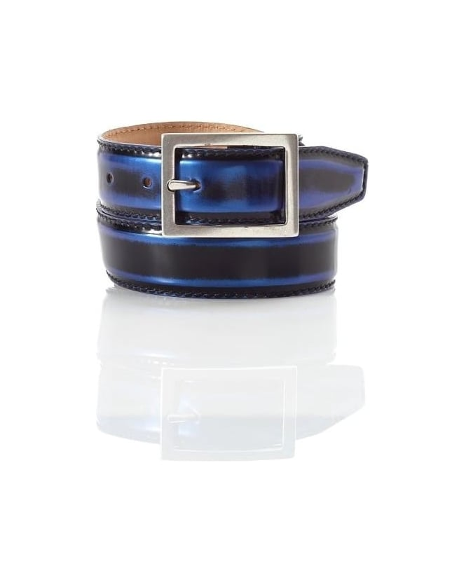 Jeffery West Shoes Mens Belt Claudio Shine Navy Blue Leather Belt