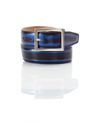 Mens Belt Claudio Shine Navy Blue Leather Belt