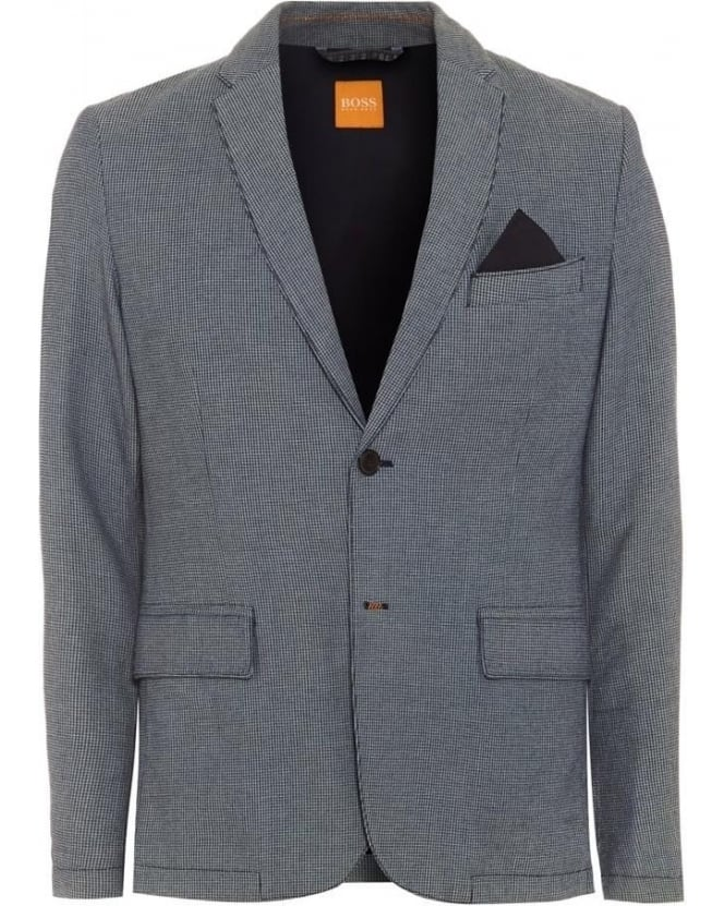 Hugo Boss Orange Mens Beneslim2_BS-W Jacket, Navy Blue Geometric Blazer