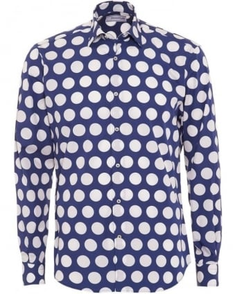 Mens Big Polka Dot Navy Slim Fit Cotton Shirt