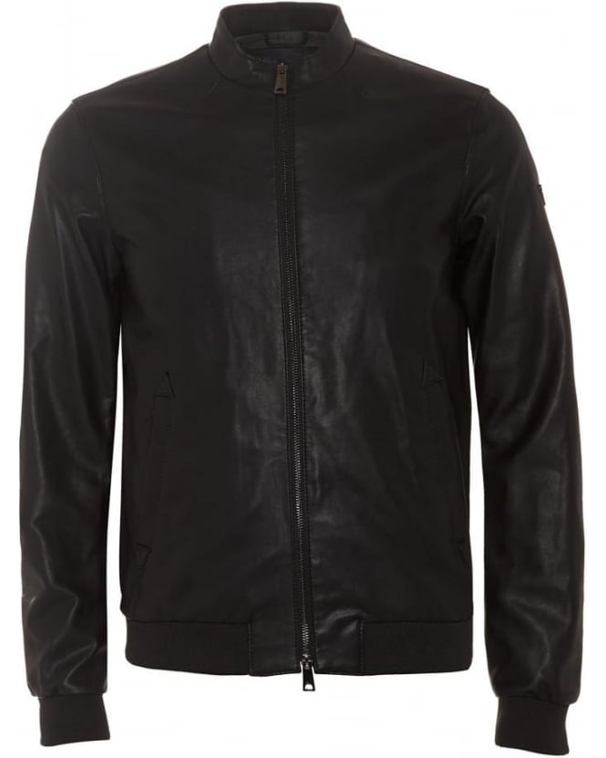 Armani Jeans Mens Biker Jacket Faux Leather Black Blouson Jacket