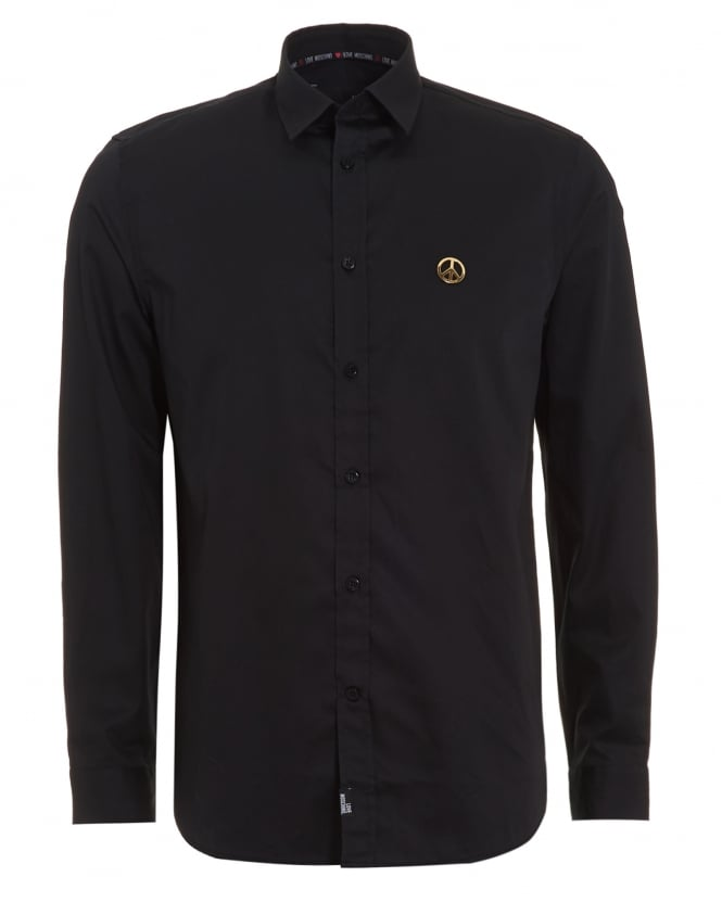 Love Moschino Mens Black Shirt, Plain Peace Logo Shirt