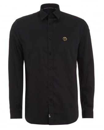 Mens Black Shirt, Plain Peace Logo Shirt
