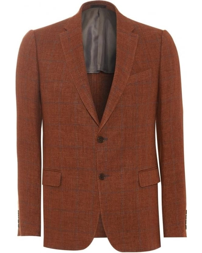 Armani Collezioni Mens Blazer Burnt Orange Check Linen Jacket