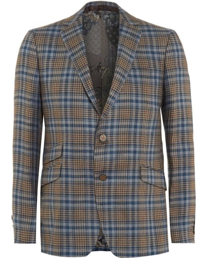 Etro Mens Blazer, Check Tartan Blue Beige Silk Lined Jacket