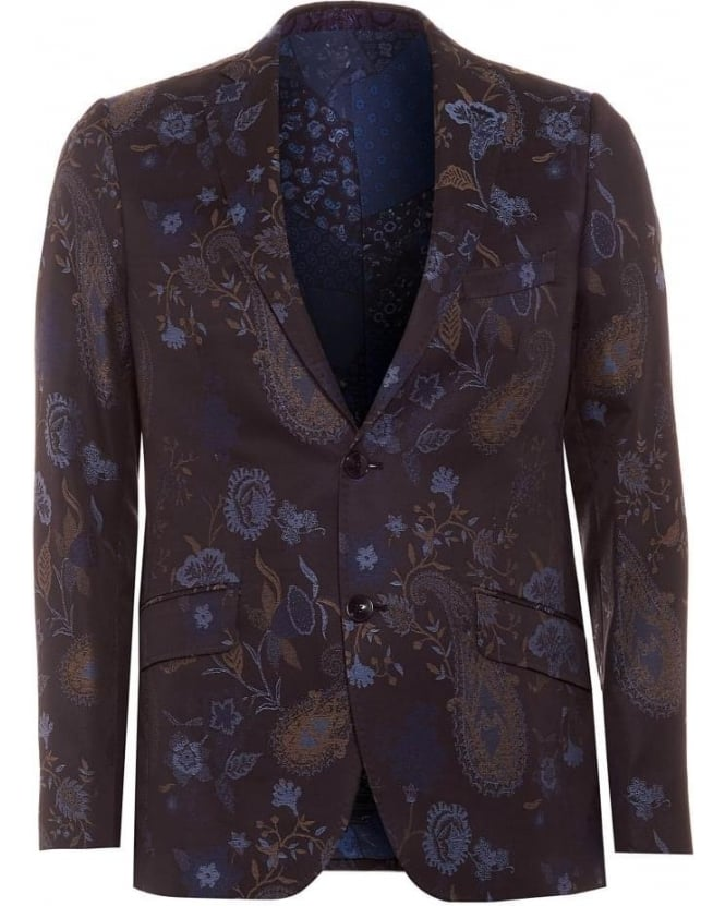 ETRO Mens Blazer Jacket, Navy Blue Floral