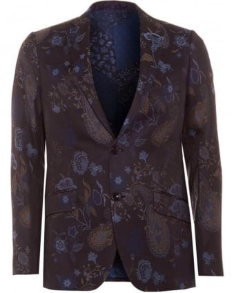 Mens Blazer Jacket, Navy Blue Floral