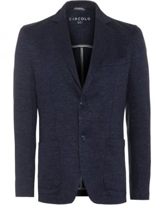 Mens Blazer Linen Blend Blue Jacket