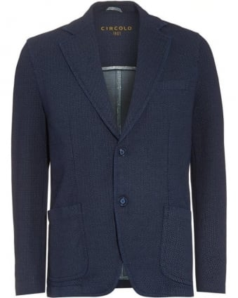 Mens Blazer Navy Blue Textured Jacket