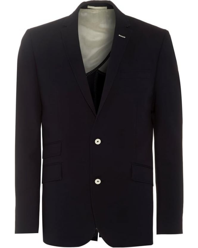 Holland Esquire Mens Blazer Navy Blue Waffle Trend Jacket
