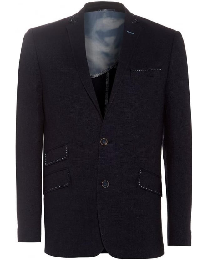Holland Esquire Mens Blazer Navy Indigo Pique Trend Jacket
