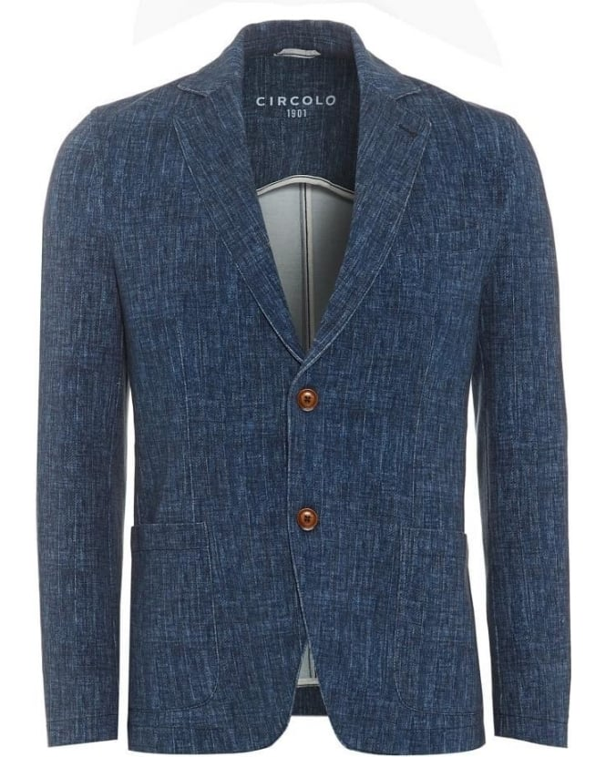 Circolo 1901 Mens Blazer Unstructured Stretch Cotton Sky Blue Jacket