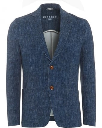 Mens Blazer Unstructured Stretch Cotton Sky Blue Jacket