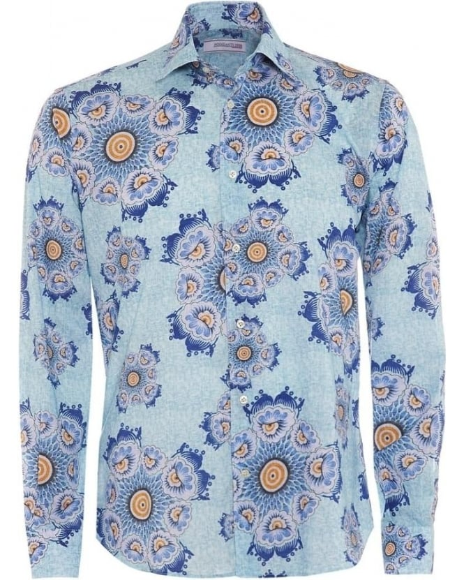 Poggianti Shirts Mens Blue Floral Slim Fit Cotton Shirt