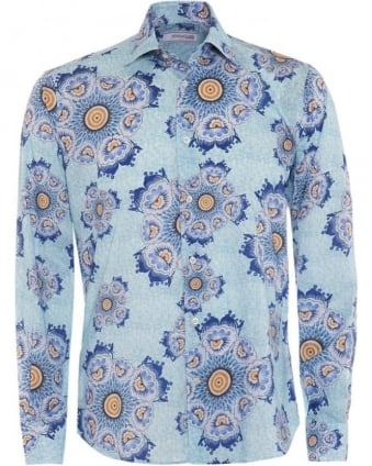 Mens Blue Floral Slim Fit Cotton Shirt