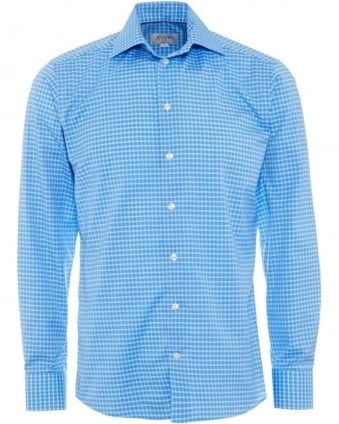 Mens Blue Turquoise Checked Fine Twill Slim Fit Shirt