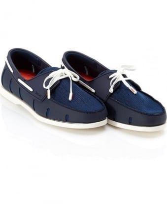 Mens Boat Shoes Navy and White Lace Loafer