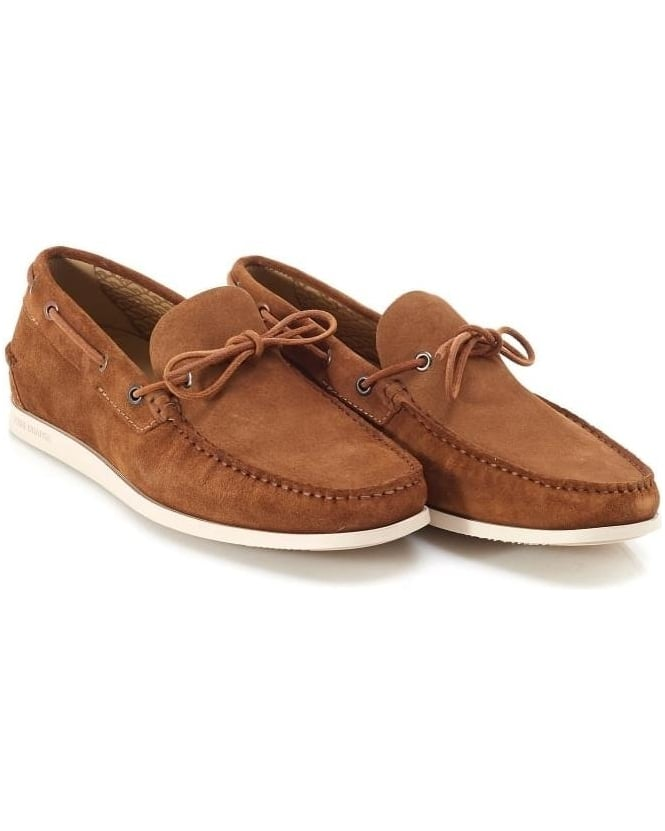 Hugo Boss Orange Mens Boat Shoes Newlan Tan Suede Deck Shoe