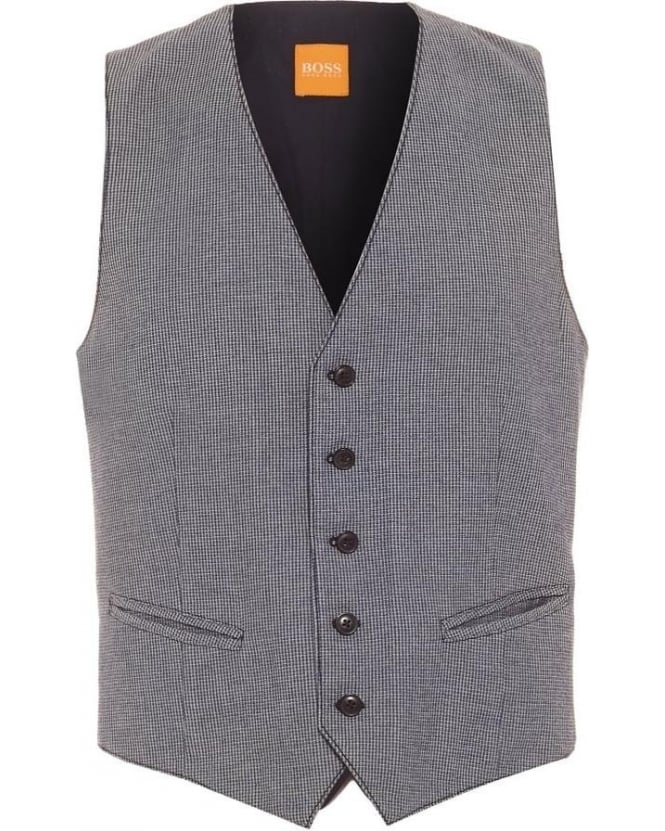 Hugo Boss Orange Mens Bozzy_BS-W Waistcoat, Button Up Navy Blue Graphic Print
