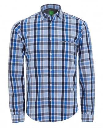 Mens C-Bansi Shirt, Blue Check Shirt