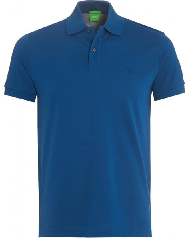 Hugo Boss Green Mens C-Firenze Logo Polo Shirt, Poseidon Blue Polo