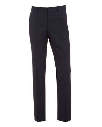 Mens C-Genius Navy Blue Slim Fit Textured Wool Trousers