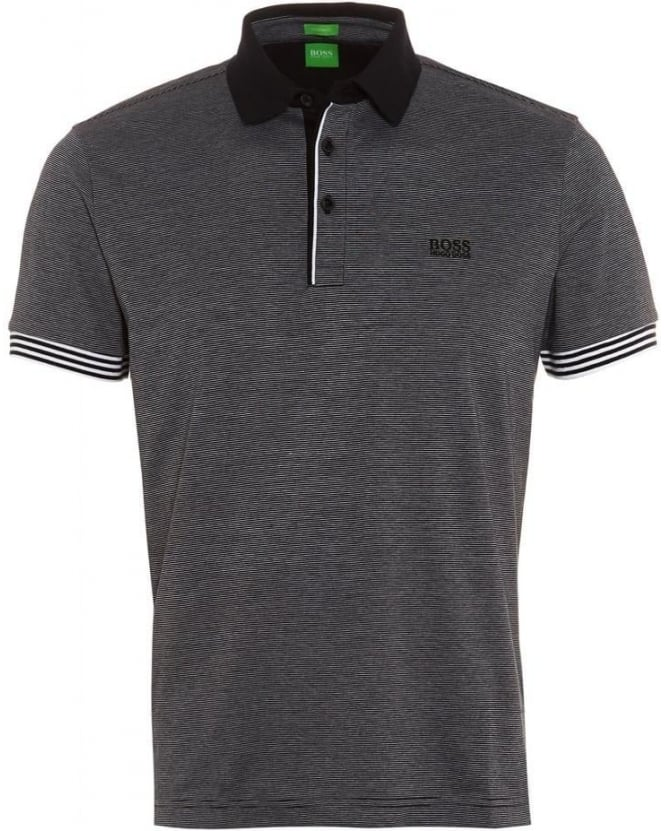 Hugo Boss Green Mens C-Janis Polo Shirt, Black Fine Stripe Regular Fit