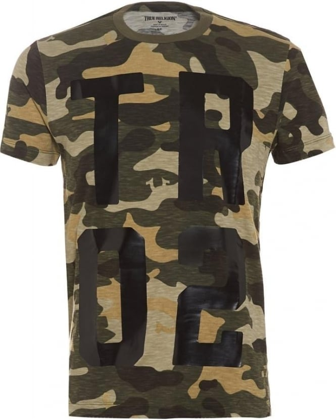 True Religion Jeans Mens Camouflage T-Shirt, Camo Print Logo Tee