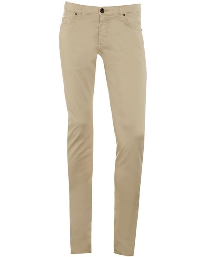 Versace Jeans Mens Chino Jeans, Beige Slim Fit Mid-Rise Jeans