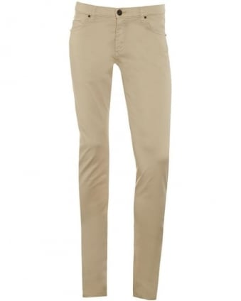 Mens Chino Jeans, Beige Slim Fit Mid-Rise Jeans